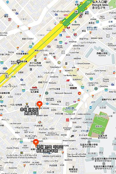 弘大雞肉串、年糕地圖