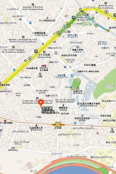 弘大姜虎東678烤肉地圖