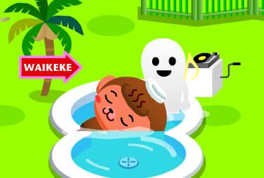 呆呆猴睡泳池