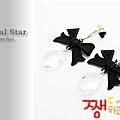 ♥ Magical Star ♥ MSR68370 韓國甜美蝴蝶結水滴耳環(黑)