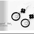 MSR71506 韓版優雅氣質名媛款黑色四葉花圓滴水鑽耳環