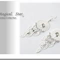 MSR70844 韓版流行時尚圓形垂吊水鑽小樹葉耳環