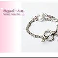 ♥ Magical Star ♥ MSH70289 韓版甜美粉女孩珍珠桃心十字架粉鑽手鏈(銀)