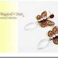 MSR70985 韓版流行時尚精品浪漫雙層蝴蝶水滴耳環