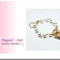 ♥ Magical Star ♥ MSH46853 韓版明星金色桃心圓珠D字手鏈