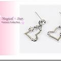 ♥ Magical Star ♥ MSR68698 韓版氣質甜心款五瓣小花依戀水鑽愛心耳環