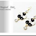 MSR71159 韓版時尚雙色幸運五葉草垂掛單鑽耳環(黑白)