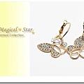 ♥ Magical Star ♥ MSR62339 韓版時尚LOVE字母蝴蝶鏤空水鑽耳環
