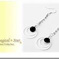 MSR70999 韓版氣質淑女款水鑽浪漫垂掛圓圈耳環(黑)