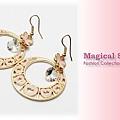 ♥ Magical Star ♥ MSR66314 韓版愛戀蝴蝶愛心圓形花盤耳環(粉)