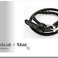 ♥ Magical Star ♥ MSH49426 韓版龐克女孩個性編花皮扣手鏈(黑)