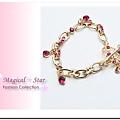 ♥ Magical Star ♥ MSH67551 韓版奢華粉鑽蝴蝶結金色雙心手鍊