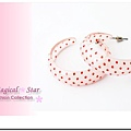 韓版熱銷C型時尚耳環(粉色小紅點)