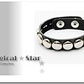 ♥ Magical Star ♥ MSH53363 韓版龐克女孩個性圓扣仿皮黑色手鏈