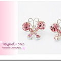 MSR71150 韓國時尚流行款! 蝴蝶精靈粉色閃鑽耳環
