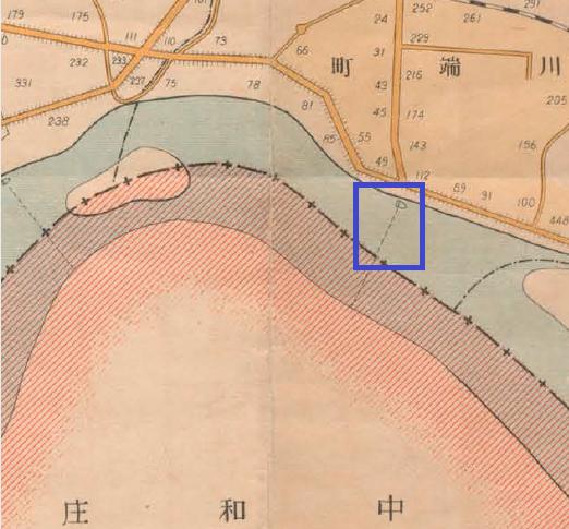 川端橋落成以前,往返中和庄與臺北市區必須依靠費時又危險的渡船運輸。圖為1932年的接駁路線.png