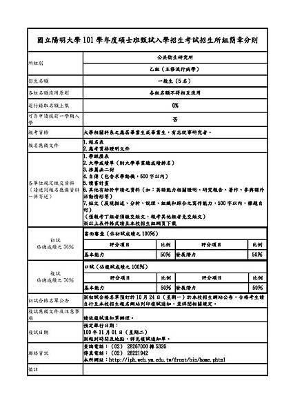 公共衛生研究所乙組(主修流行病學)