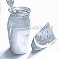 18靜物 甕、筆和西瓜.jpg