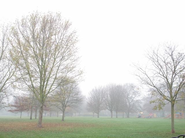 上學途中經過大霧中的公園