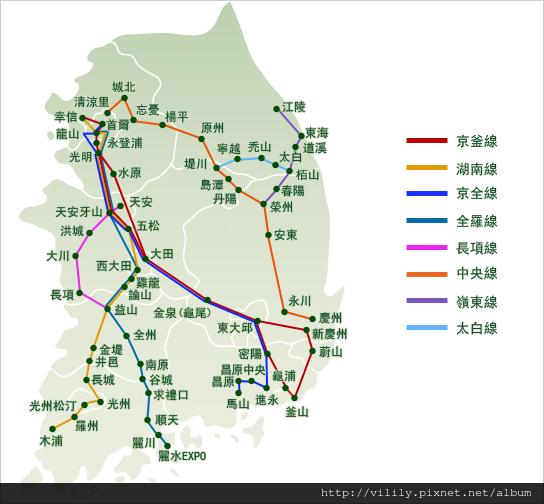 韓國鐵路路線圖
