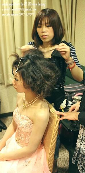甜美紗帽造型,捲髮公主頭,俏麗捲髮包頭,台北新祕~薇娜vina huang.jpg