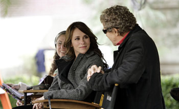 Jennifer Love Hewitt directs the 100th episode of  Ghost Whisperer (talking to Executive Producer Ian Sander).jpg