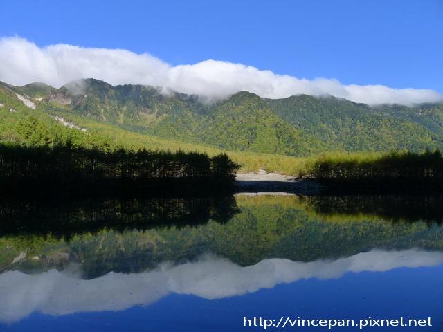 大正池 山頭白雲