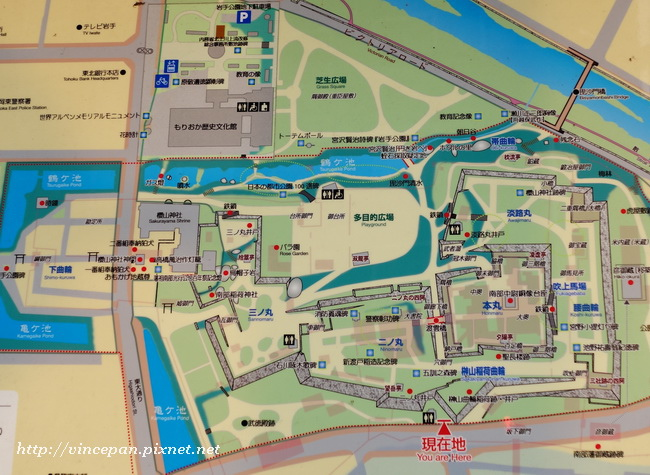 盛岡城跡地圖