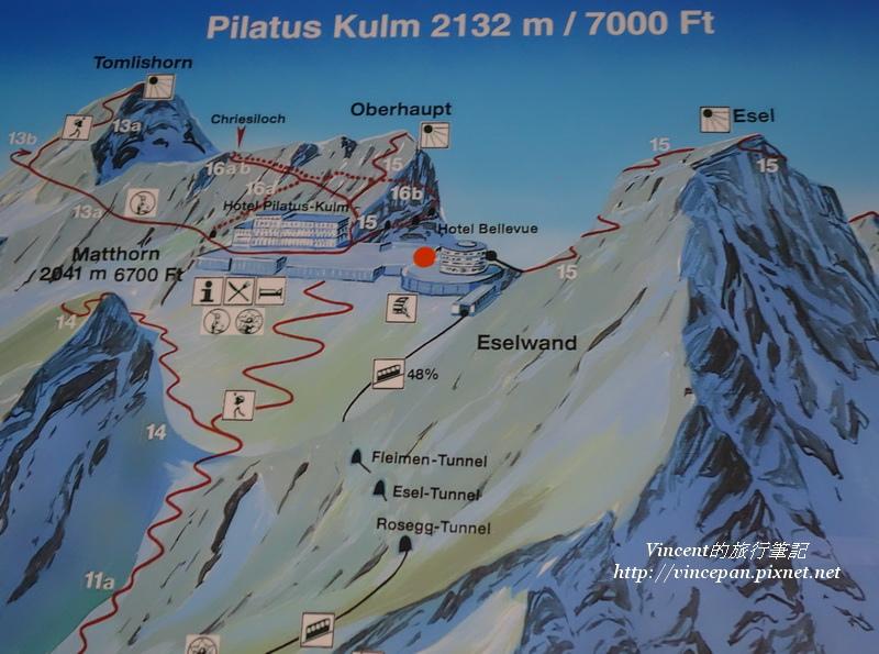 皮拉圖斯山頂地圖