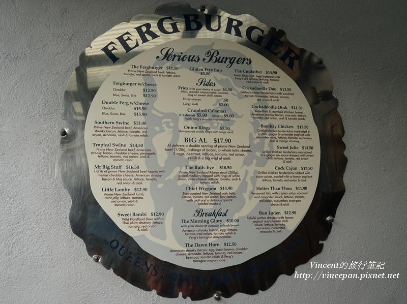 Fergburger menu 2