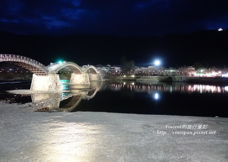 錦帶橋 岩國城 夜景