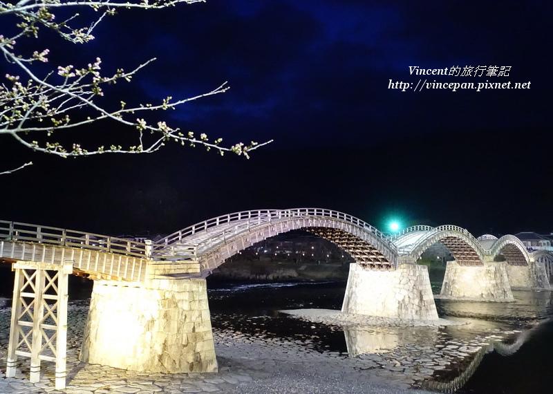 錦帶橋 櫻花樹 夜景2