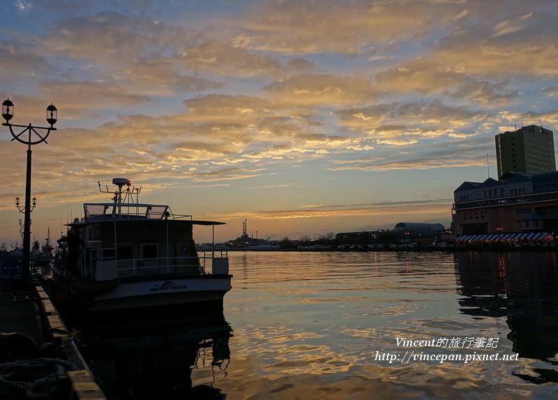 釧路港 火燒雲 船