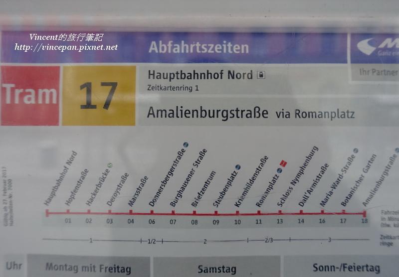 17號電車Tram 站名
