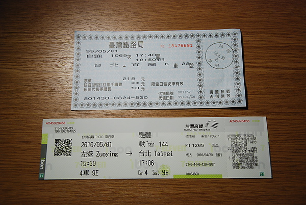 高鐵&太魯閣車票