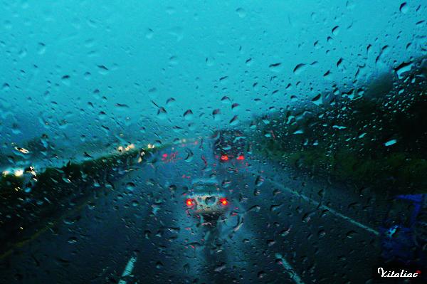 往機場的路上..除了塞車之外..雨有一度下的大到不行