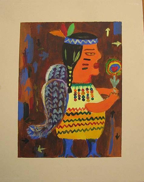 印第安鳥人(陶版畫).jpg