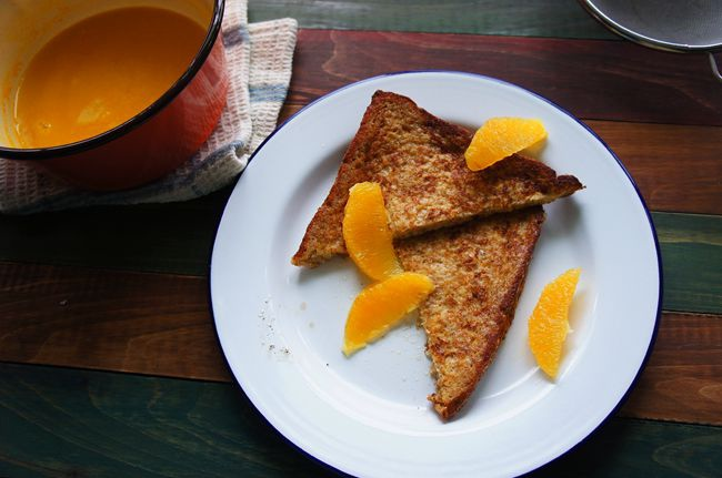 橙香法國吐司佐焦糖柳橙汁