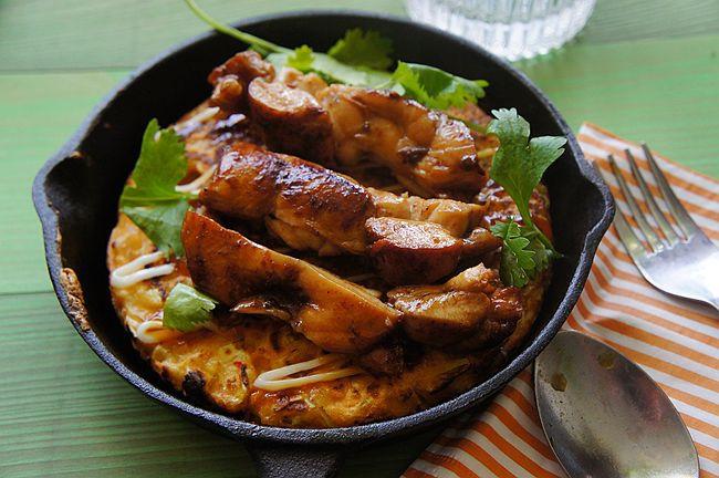 黏踢踢雞肉麵與大阪煎