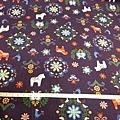 日本棉布料 紫底 北歐風情