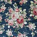 日本棉麻布  花束 藍底