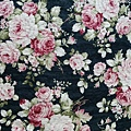 日本棉麻布  花束 黑底