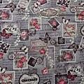 日本棉麻布 郵票玫瑰蝴蝶