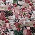 日本棉麻布 玫瑰花園蝴蝶  粉色
