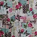 日本棉麻布 玫瑰花園蝴蝶  粉綠麻底