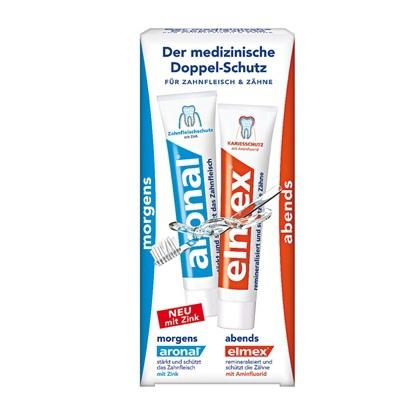 elmex Mundhygiene-Set 1x elmex +1x aronal 早晚雙效牙膏組