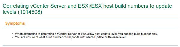 Correlating vCenter Server and ESXi/ESX host build numbers