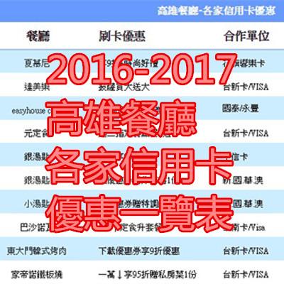 2016-2017高雄餐廳-各家信用卡優惠一覽表