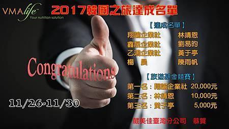 2017樂透韓國之旅達成名單