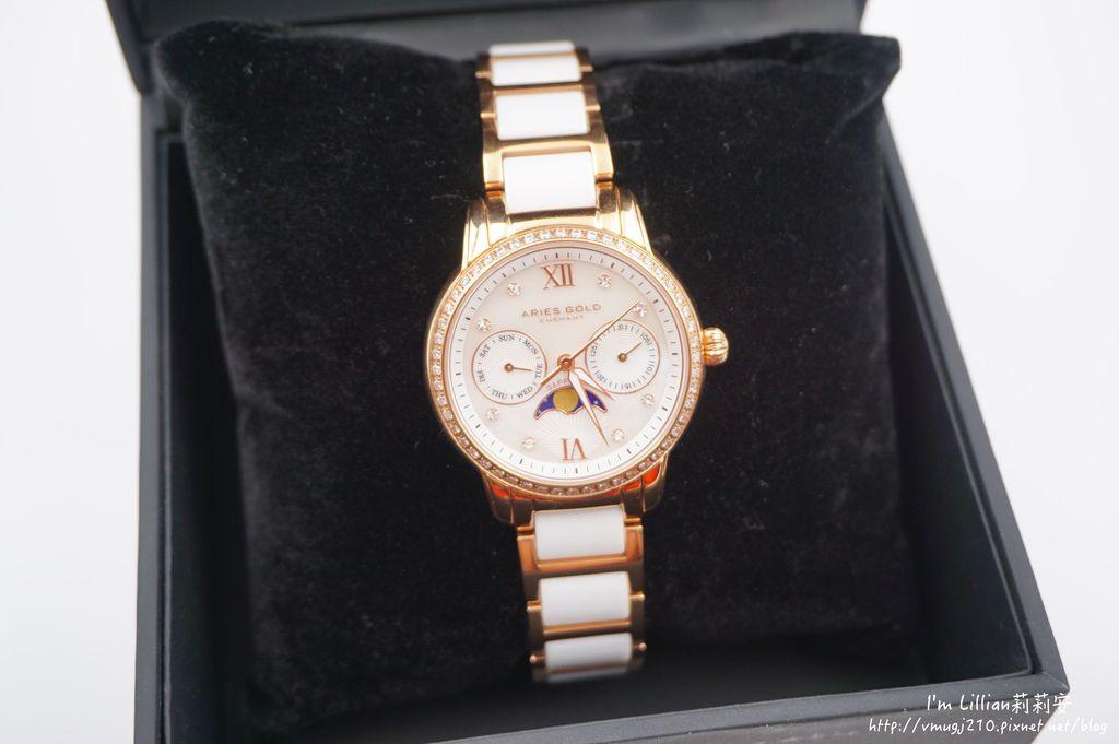 石英手錶推薦  施華洛世奇水鑽42Aries Gold LUNA 58010.JPG